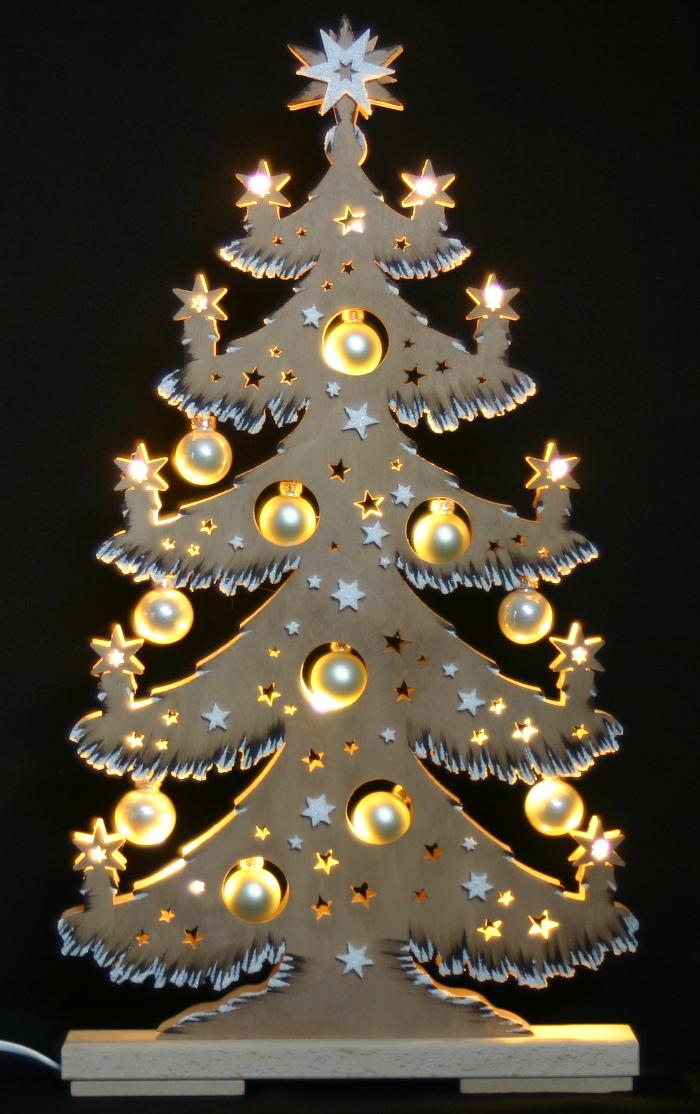 3d schwibbogen led tannebaum mit goldenen kugeln 57x30cm - Lichternetz fa r tannenbaum ...