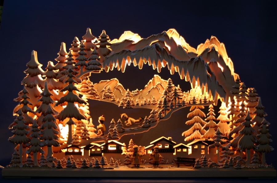3D LED Schwibbogen / Lichterbogen 73x44 Winterkinder Wintersport Ski ...